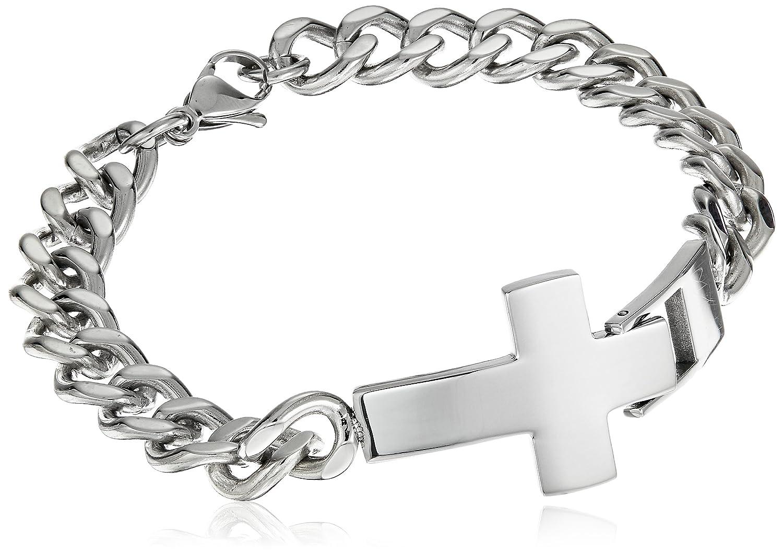 """SteelX Men's Stainless Steel Cross ID Chain Bracelet, 8.5"""""""