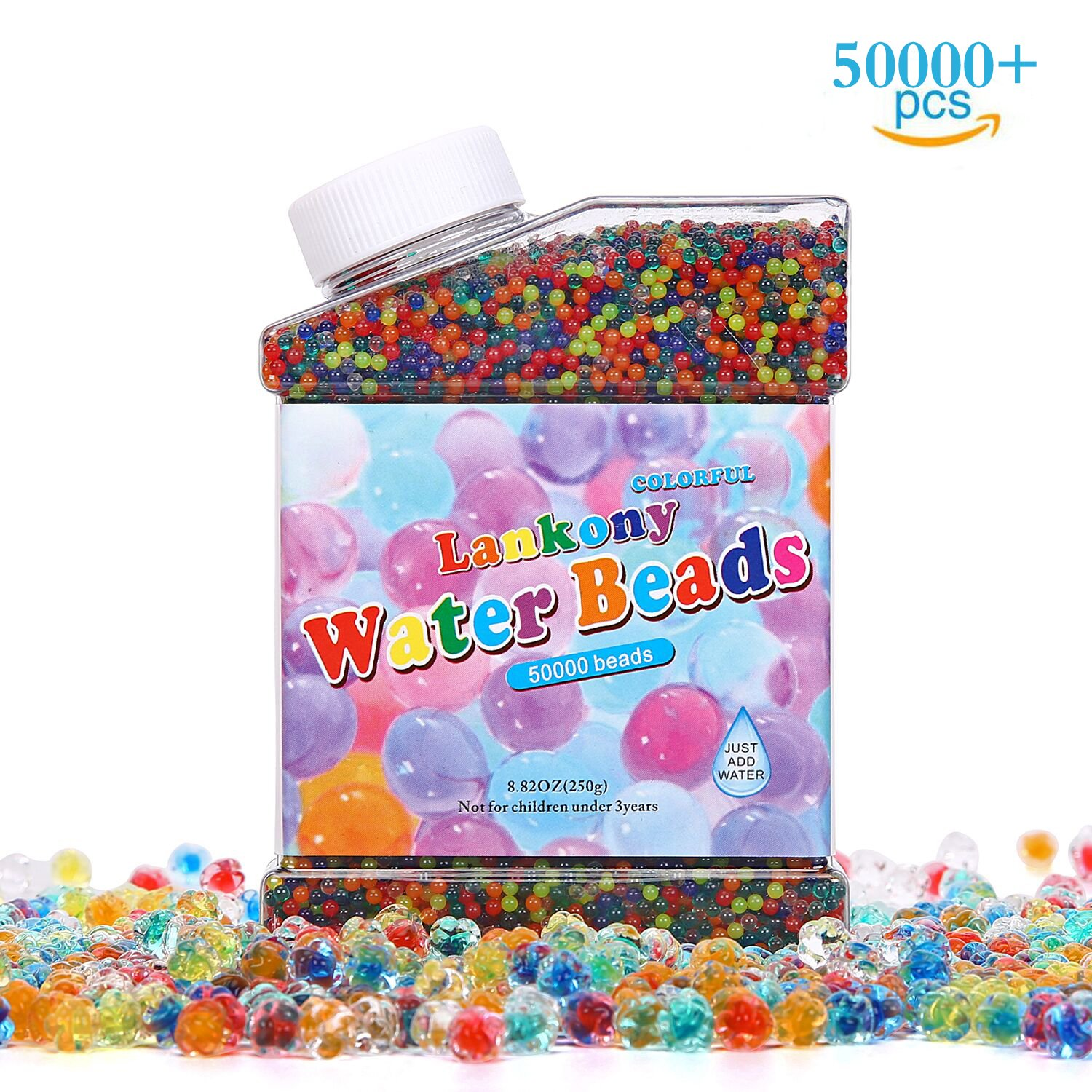 Lankony Water Beads Pack 50000 Beads Rainbow Mix Jelly Water Growing Balls for Kids Tactile Sensory Toys Vases Plants Party Wedding and Home Decoration