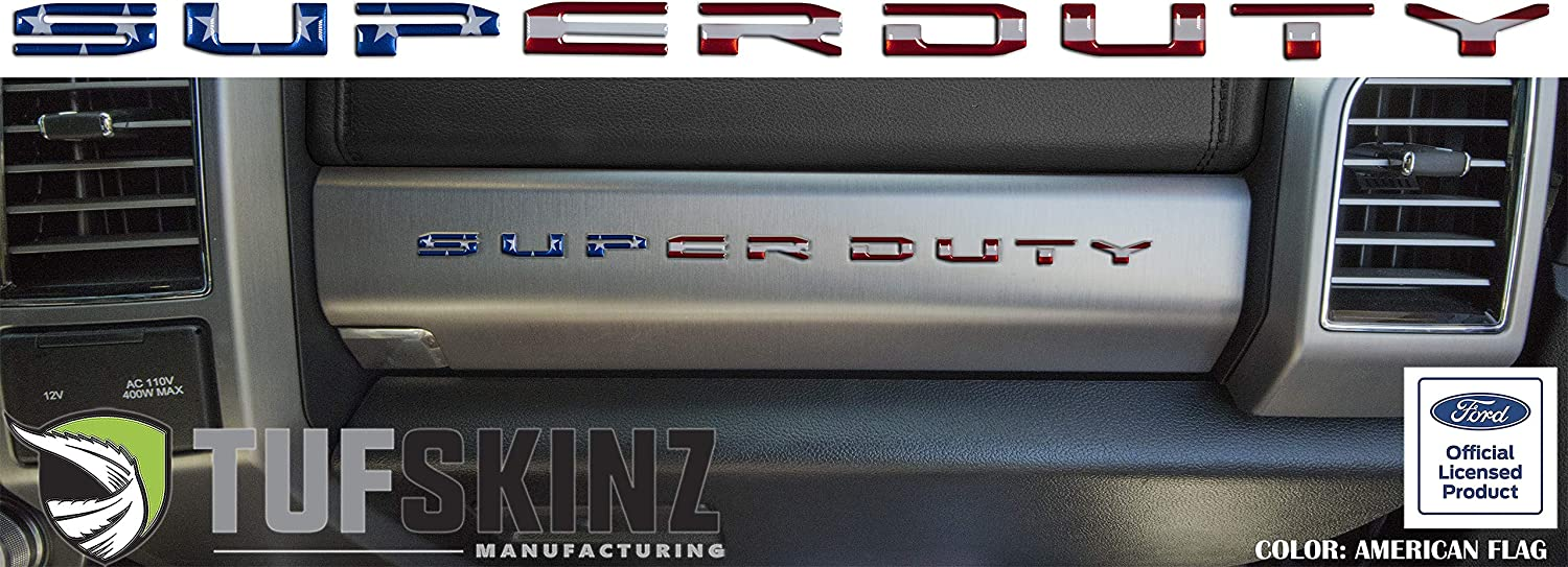 10 Piece Kit Super Duty Glove Box Letter Inserts Fits 2017-Up Ford Super Duty TUFSKINZ Turbo Silver