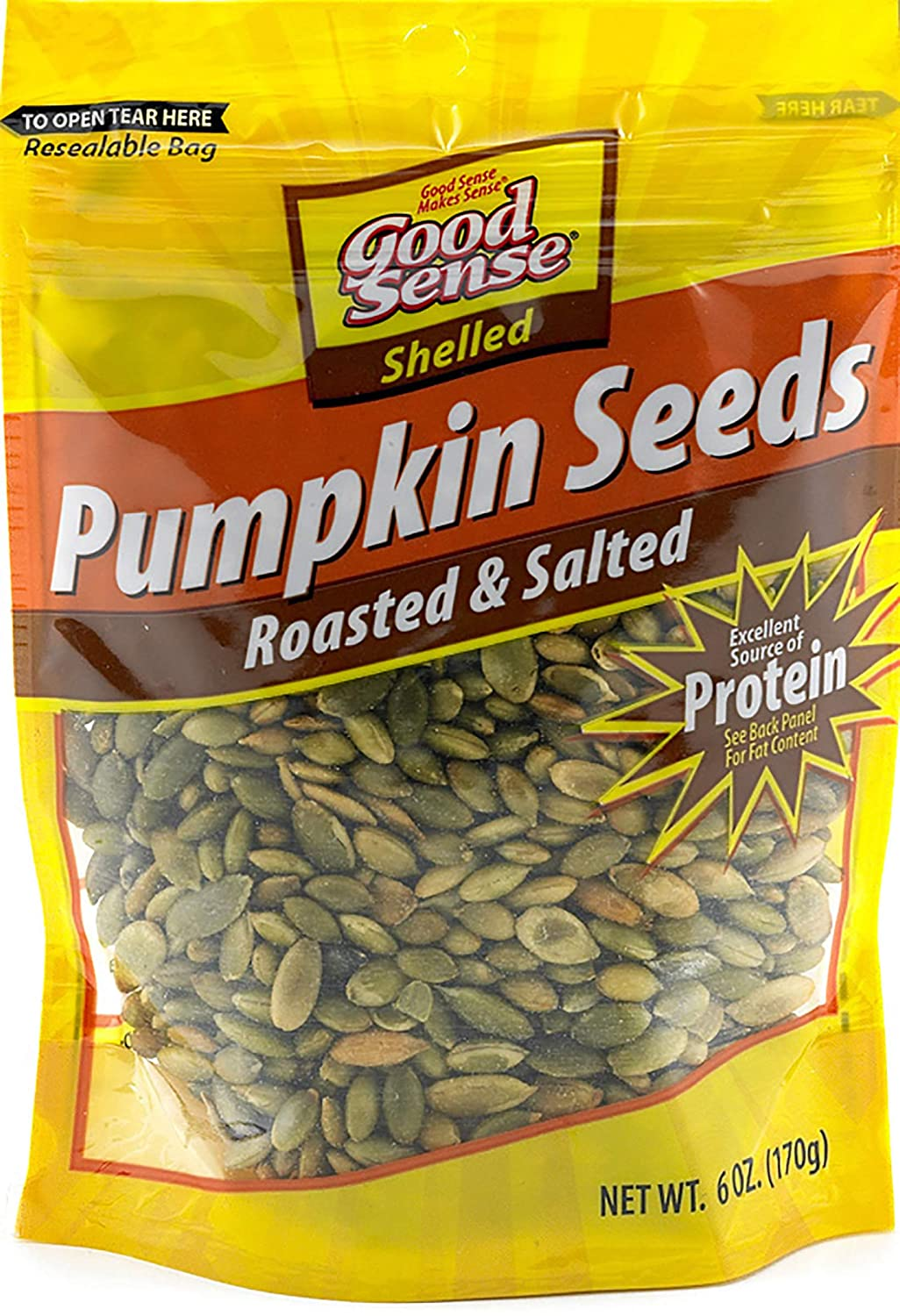 Good Sense Roasted and Salted Shelled Pumpkin Seeds, 72 Ounce (Pack of 12)