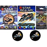 Star Realms Bundle of Base Game, Colony Wars Deck, the Gambit Set Plus 2 Star Fighter Buttons