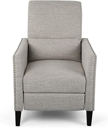 Christopher Knight Home Alexis Contemporary Fabric Push Back Recliner, Light Gray, Dark Brown
