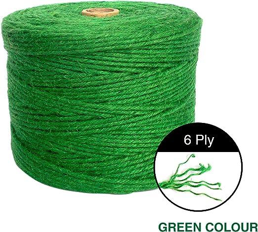 ANSIO Yute Twine, 1000 pies de cuerda de yute 6 capas de 3 mm de grosor, cuerda de yute para decoración Jardín Floristería DIY Arts Bundling Crafts & Wrapping - Verde: Amazon.es: Jardín
