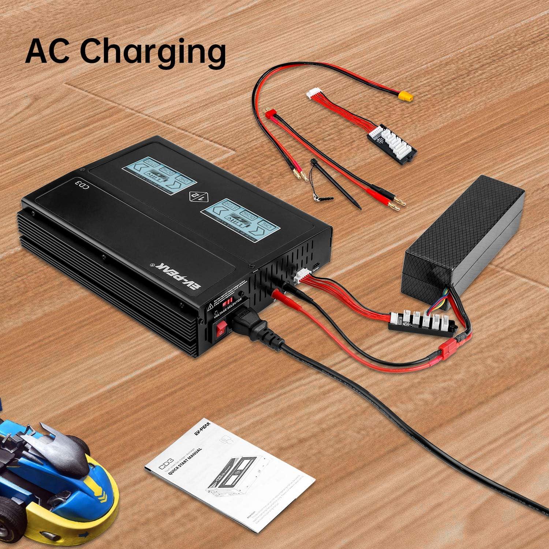 2x 25Amps // 200Watt EV-PEAK CD3 AC Mit Touchscreen DC Multifunktions-Lipo Balance Ladeger/ät RC Ladeger/ät