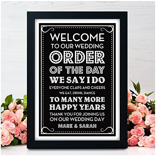 Personalised Welcome To Our Wedding Sign Order Of The Day Wedding
