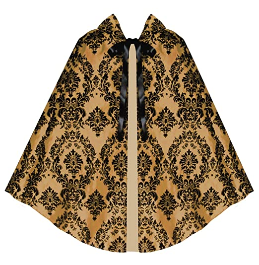 Vintage Coats & Jackets | Retro Coats and Jackets Victorian Vagabond Historical Steampunk Gothic Renaissance Gold Black Cape Cloak $54.00 AT vintagedancer.com