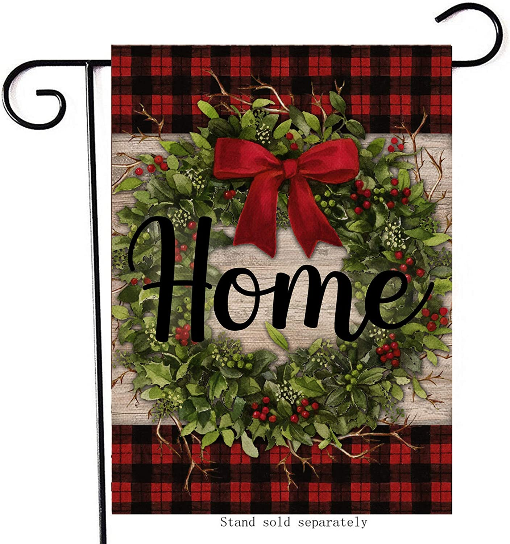 Artofy Christmas Home Decorative Small Garden Flag, Buffalo Plaid Check Xmas House Yard Outside Wreath Black Red Welcome Decor, Winter Holiday Decoration Farmhouse Seasonal Outdoor Flag Vertical 12x18