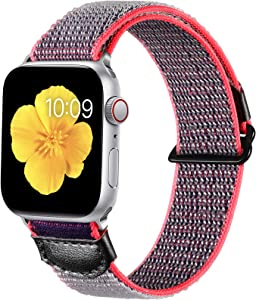 Easuny Compatible with Apple Watch Band 44mm 42mm Women Men, Sport Breathable Soft Weave Loop Nylon Wristband Strap Replacement for iWatch Bands Series 6 5 4 3 2 1, Gray Blue