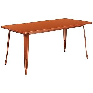 Flash Furniture 31.5'' x 63'' Rectangular Copper Metal Indoor-Outdoor Table
