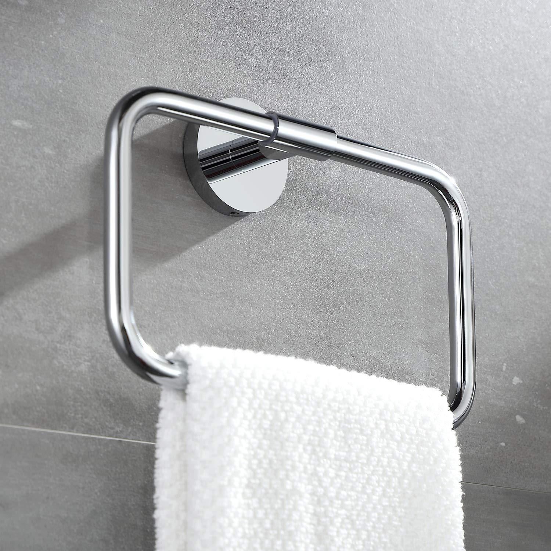 BUVELOT 077050-CR Leo Bathroom Towel Ring Wall Mount Modern,Chrome