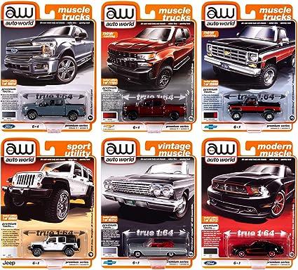 6-Piece Set Factory-Sealed Case Auto World 1:64 Premium 2020 Release 4 Set A