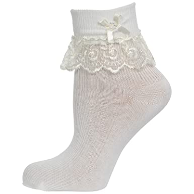 ba3f362833435 Cute Decorative Baby Girl White Cream Ivory Frilly Lace Socks (Newborn to  10 years old) 10% with TWO more purchase  Amazon.co.uk  Clothing