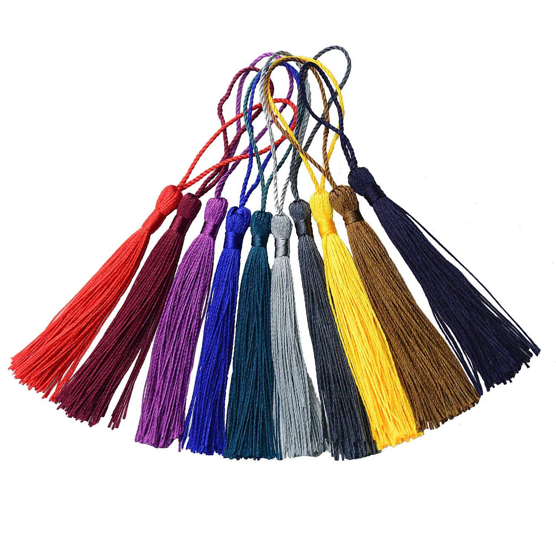100 Unidades Colores Variados borlas con Lazo de cord/ón y Nudo Chino peque/ño para Hacer Joyas 13 cm Nubstoer Marcap/áginas Hilo Sedoso