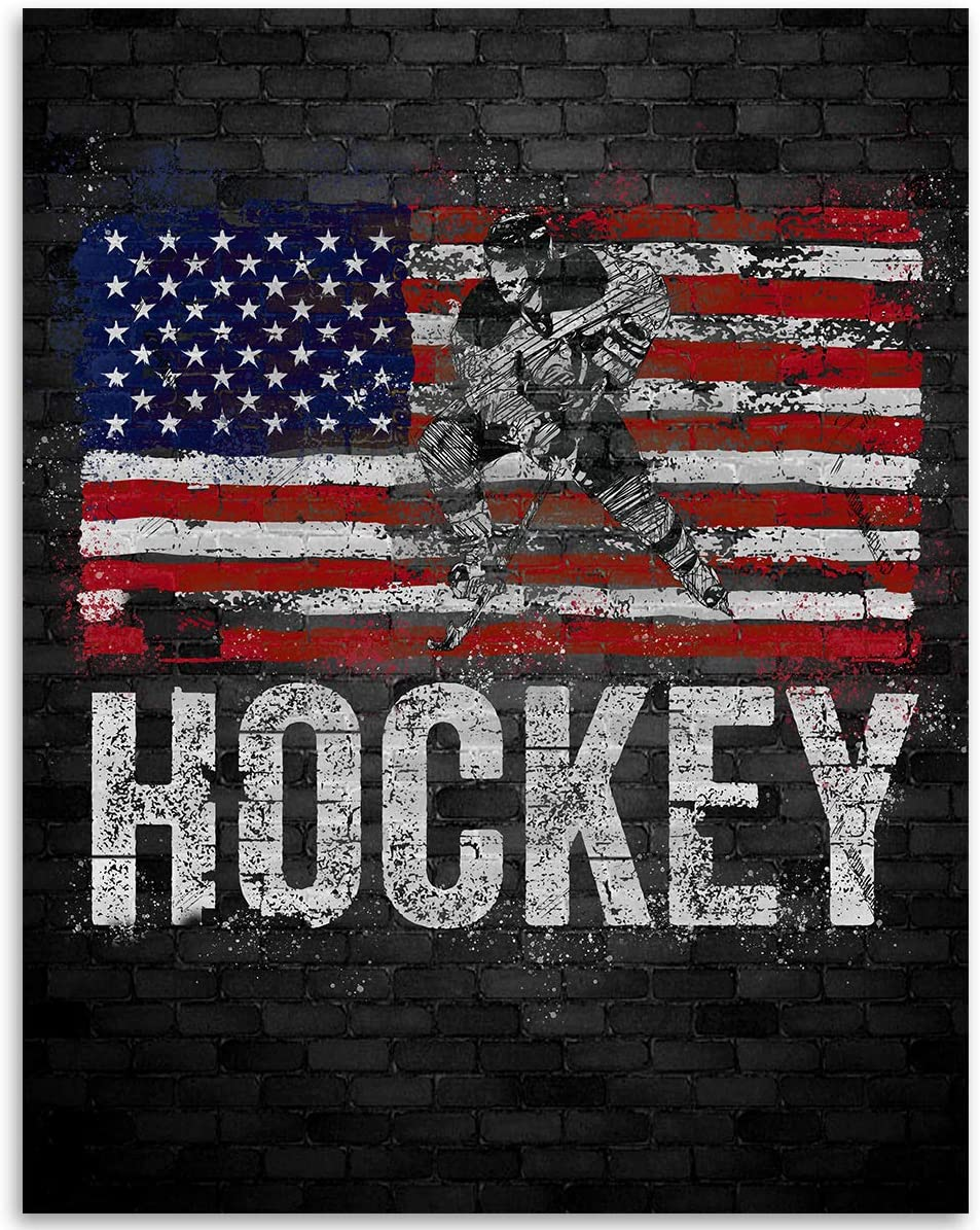 American Flag Hockey Grunge - 11x14 Unframed Art Print - Great Gift for Hockey Fans, Hockey Players or Man Cave Décor