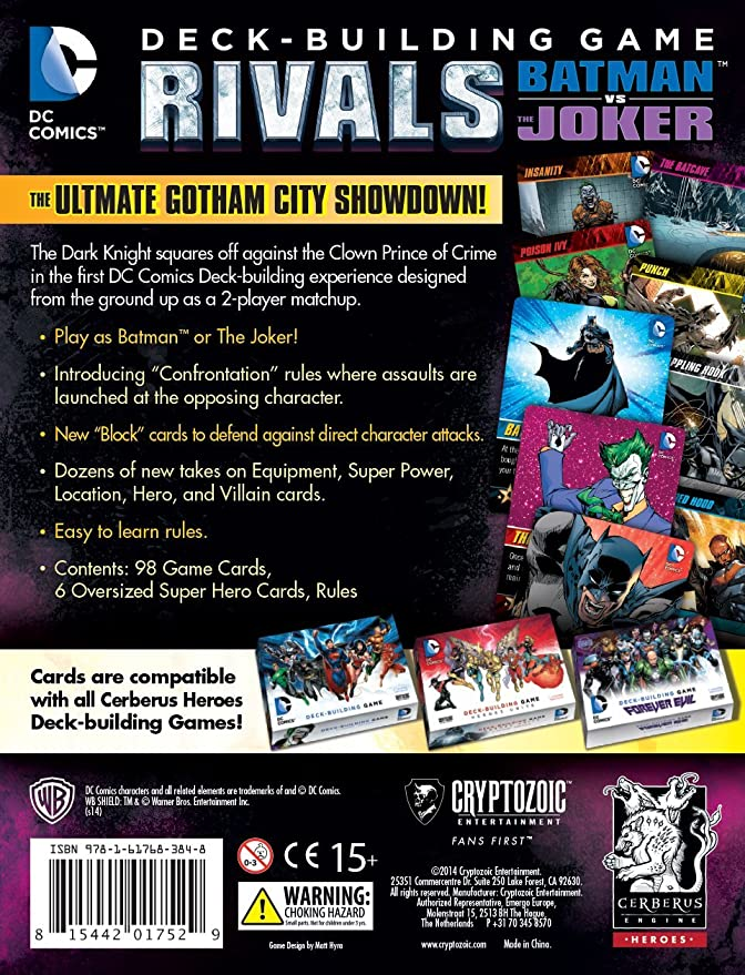 Cryptozoic Entertainment 330354 Cryptozoik Rivals Batman vs The Joker DC  Comics Deck Building Card Game, Multicoloured