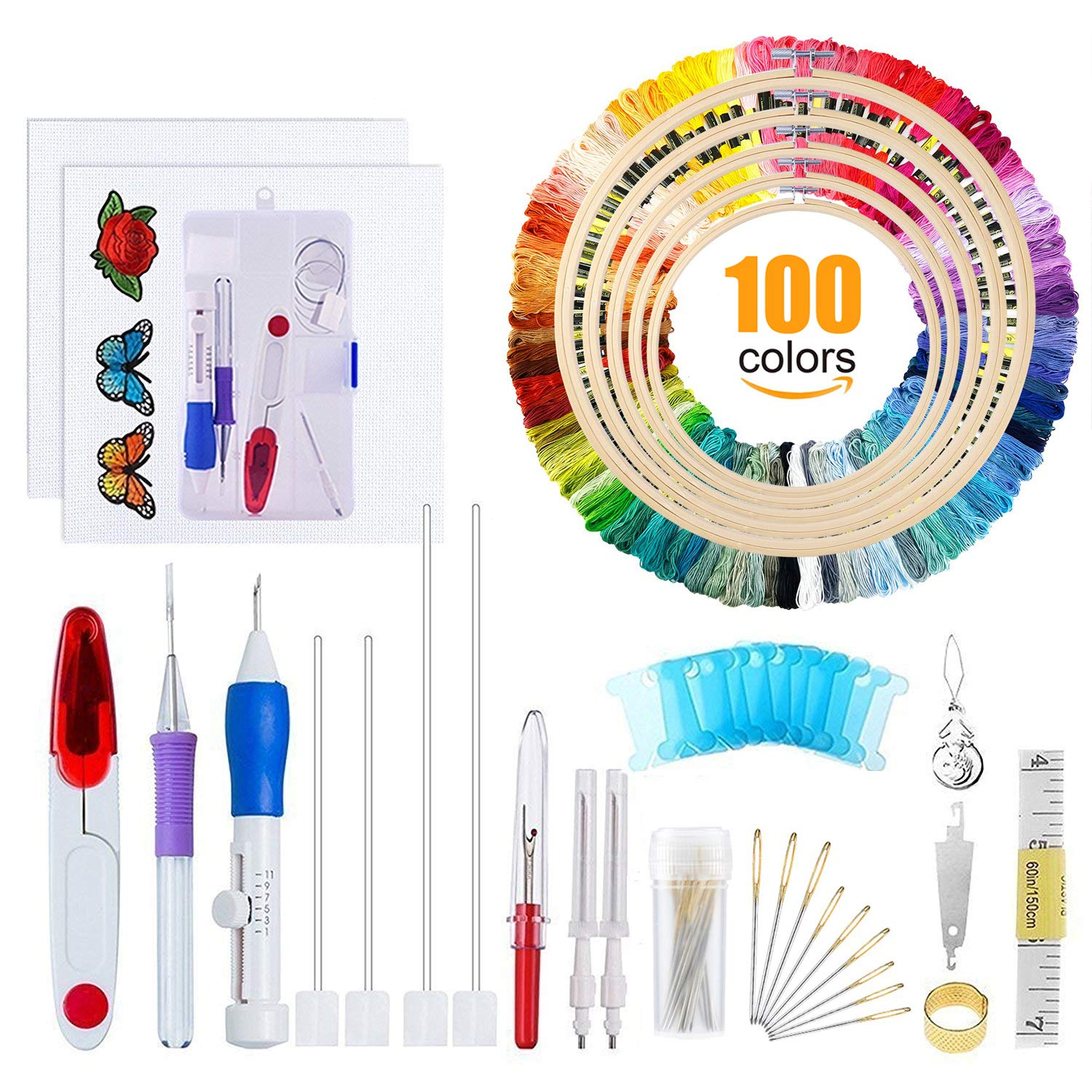 Embroidery Starter Kit Full Set - Including Magic Embroidery Pen Punch Needle,5 Pieces Bamboo Embroidery Hoops, 100 Color Threads,Embroidery Needles Stitching Punch Pen Set Craft Tool for Beginner by WeeDee