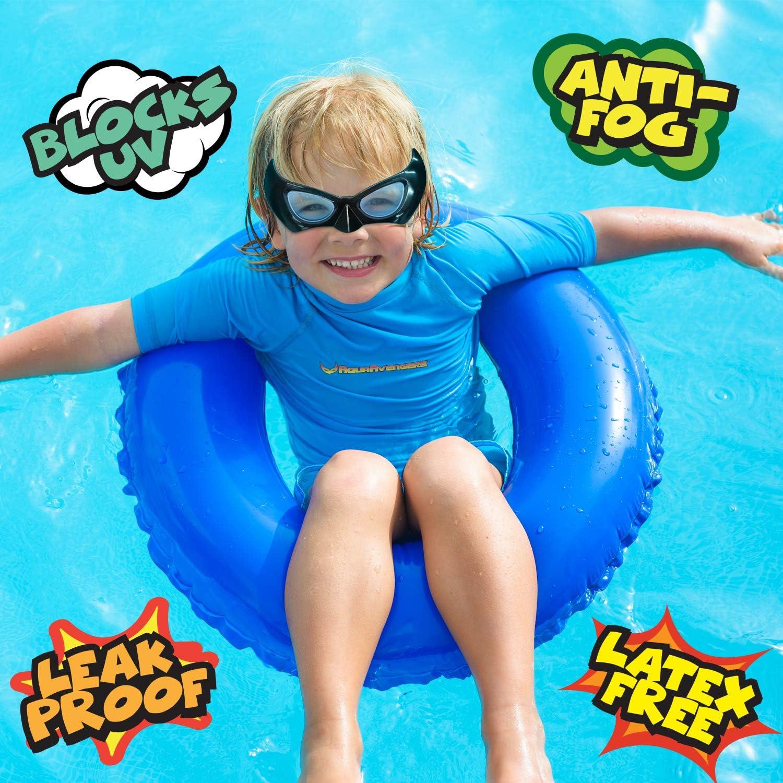 AquaAvengers Superhero - Gafas de natación para niños, diseño de superhéroes, máscara de natación ajustable, color negro, para mayores de 3 años (antivaho, protección UV, sin látex, a prueba de fugas): Amazon.es: