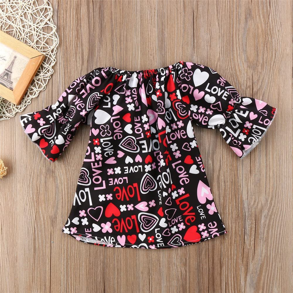 Fenleo Baby Girls Love Letter Geometric Print Big Bowknot Party Pageant Dress