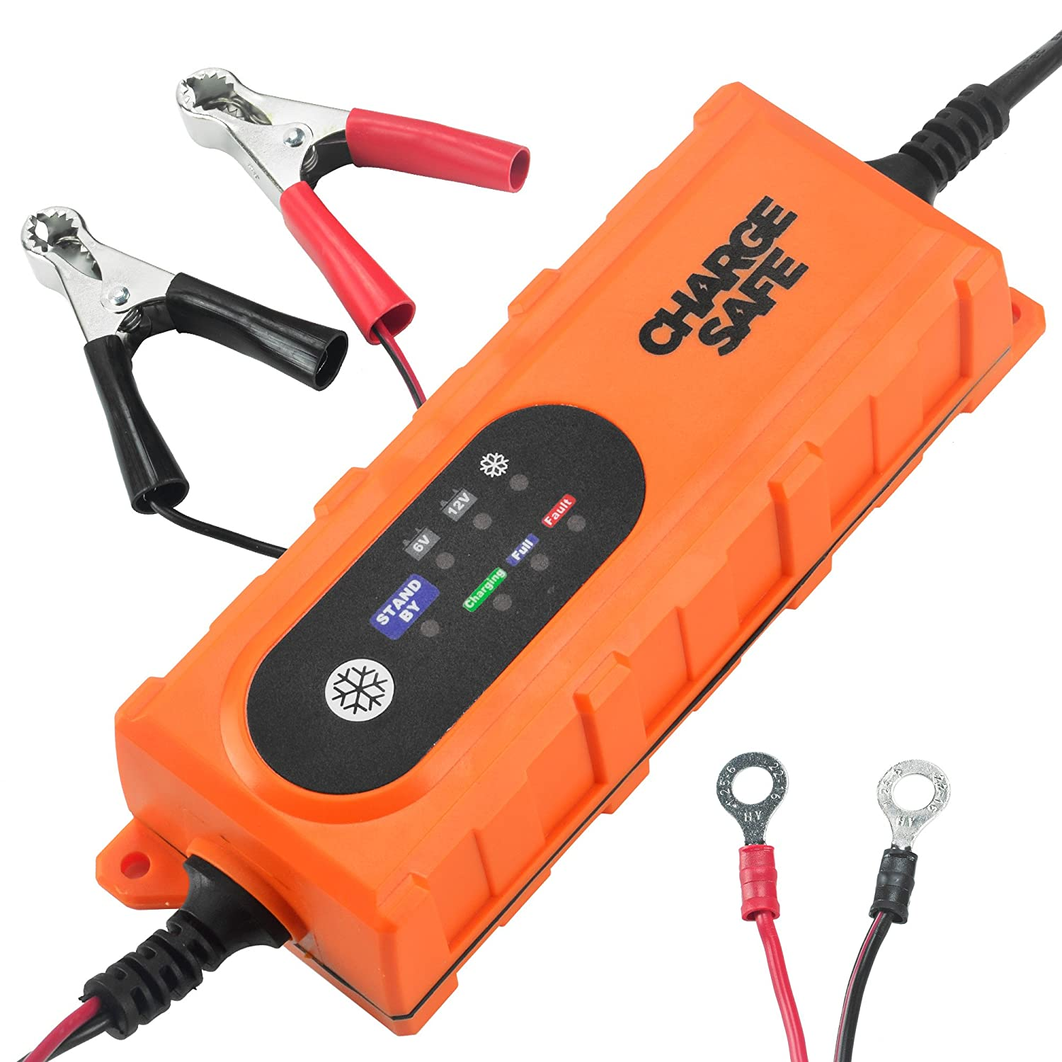 Portable Car Battery Charger- 12v For Car 6v For Motorcycle and Powersports - Best Automatic Auto Battery Trickle Smart Charger For Lead Acid Batteries- Battery Charge Maintainer With Clips and O-rings Allybrown Products B6001#