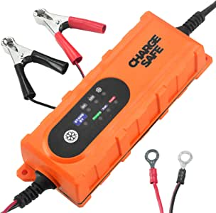Portable Car Battery Charger- 12v For Car 6v For Motorcycle and Powersports - Best Automatic Auto Battery Trickle Smart Charger For Lead Acid Batteries- Battery Charge Maintainer With Clips and O-rings