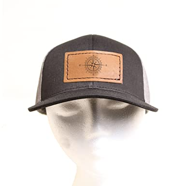 7c2b16b44 Mesh Back Hat with Leather Patch - Branded with a Compass - Centered ...