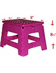 9'' Super Quality / Heavy Duty Folding Step Stool with handle, Non Slip for Adults and Kids, Saves Space, / Super Handy - Pink