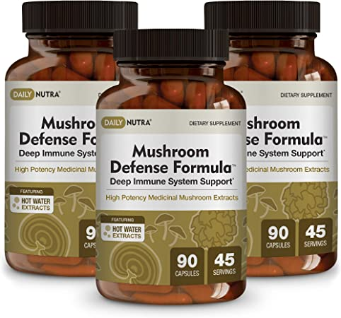 Mushroom Defense Formula by DailyNutra - Immune Support Supplement   Organic Mushrooms, Hot Water Extracted - Reishi, Chaga, Maitake, Shiitake & Turkey Tail (3-Pack)
