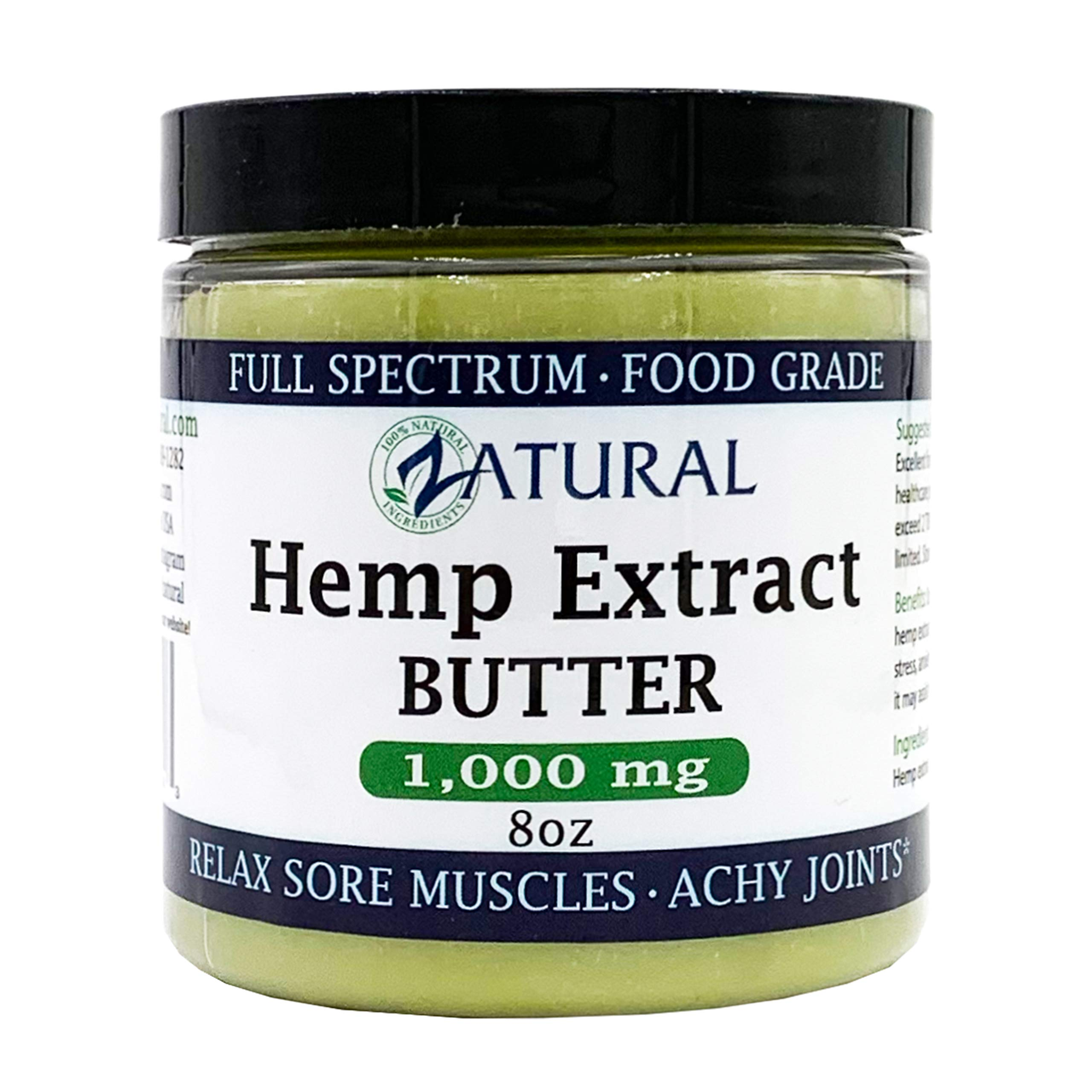 HEMP Extract BUTTER | 100% pure |organic | raw | handcrafted | vegan (Hemp Extract 1,000mg 8oz)