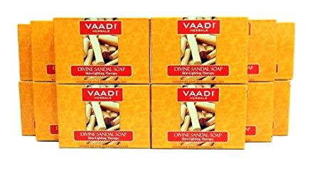 Sandalwood Soap Sandalwood Oil Bar Soap with Saffron and Turmeric Extracts – Handmade Herbal Soap Aromatherapy with 100 Pure Essential Oils – ALL Natural – Skin Whitening Therapy – Each 2.65 Ounces – Pack of 12 32 Ounces, 2 Lb – Vaadi Herbals
