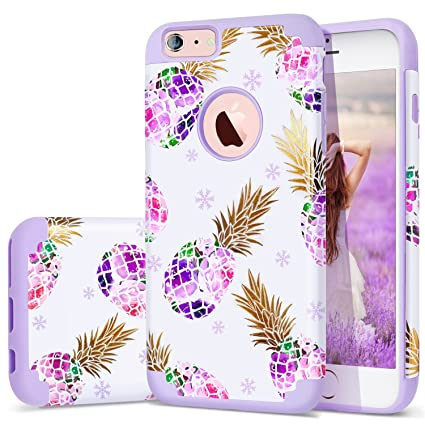 6S Plus Case,iPhone 6 Plus Case Purple,Fingic Floral Pineapple&Snowflake Thin Case Hard PC&Soft Rubber Anti-Scratch Shockproof Phone Case for iPhone ...