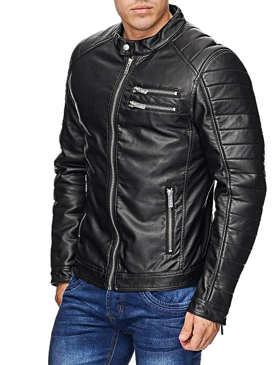 Redbridge Hombres Chaqueta Cuero Sintético Transición Moda Leather Jackets