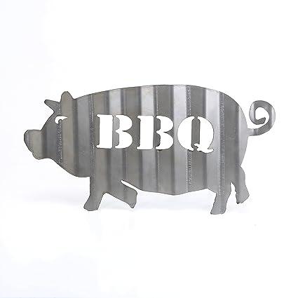 Corrugado para barbacoa Pig Sign barbacoa Metal Sign Vintage Plasma Cut acero corrugado Restaurant sign rústico