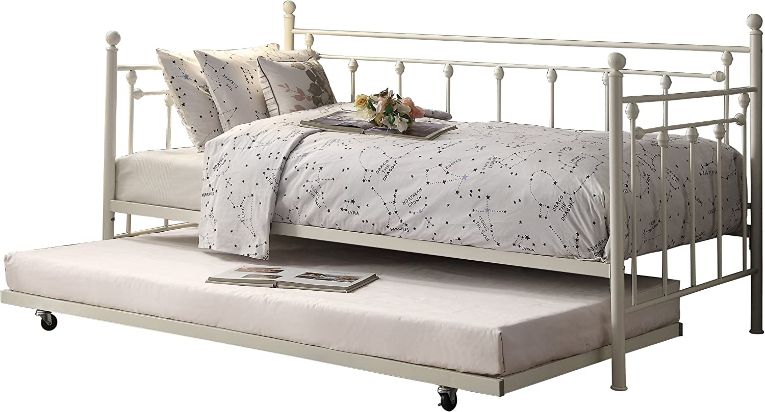 Homelegance Four Posts Elegant Metal Frame Daybed with Trundle Powder, Coated White Finish