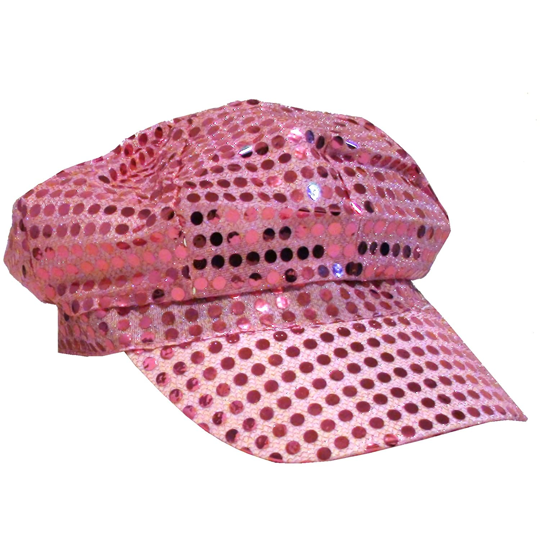 Disco Cap mit Pailletten Pink glitzernder Party Hut Kappe Discocap