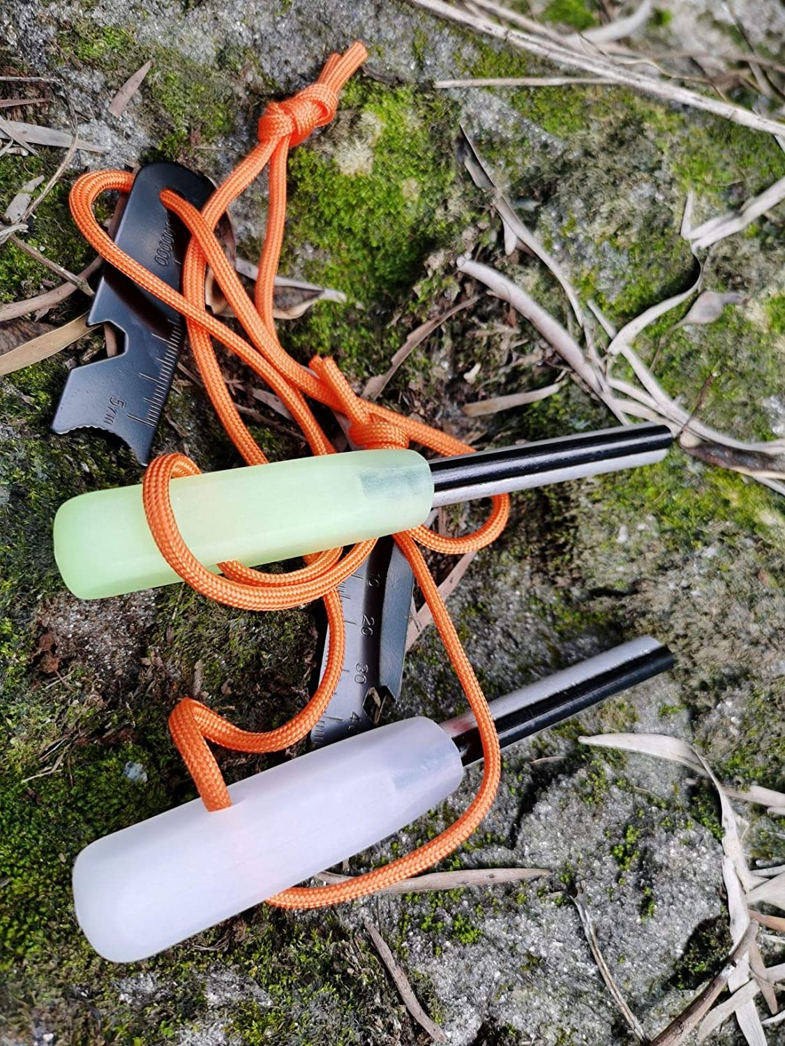 Hiking Hunting Backpacking Camping Emergency Fire Starter White and Glow in The Dark FOSTAR Outdoors 2PCS Magnesium Rod Ferro rods Great for Bushcraft Camping