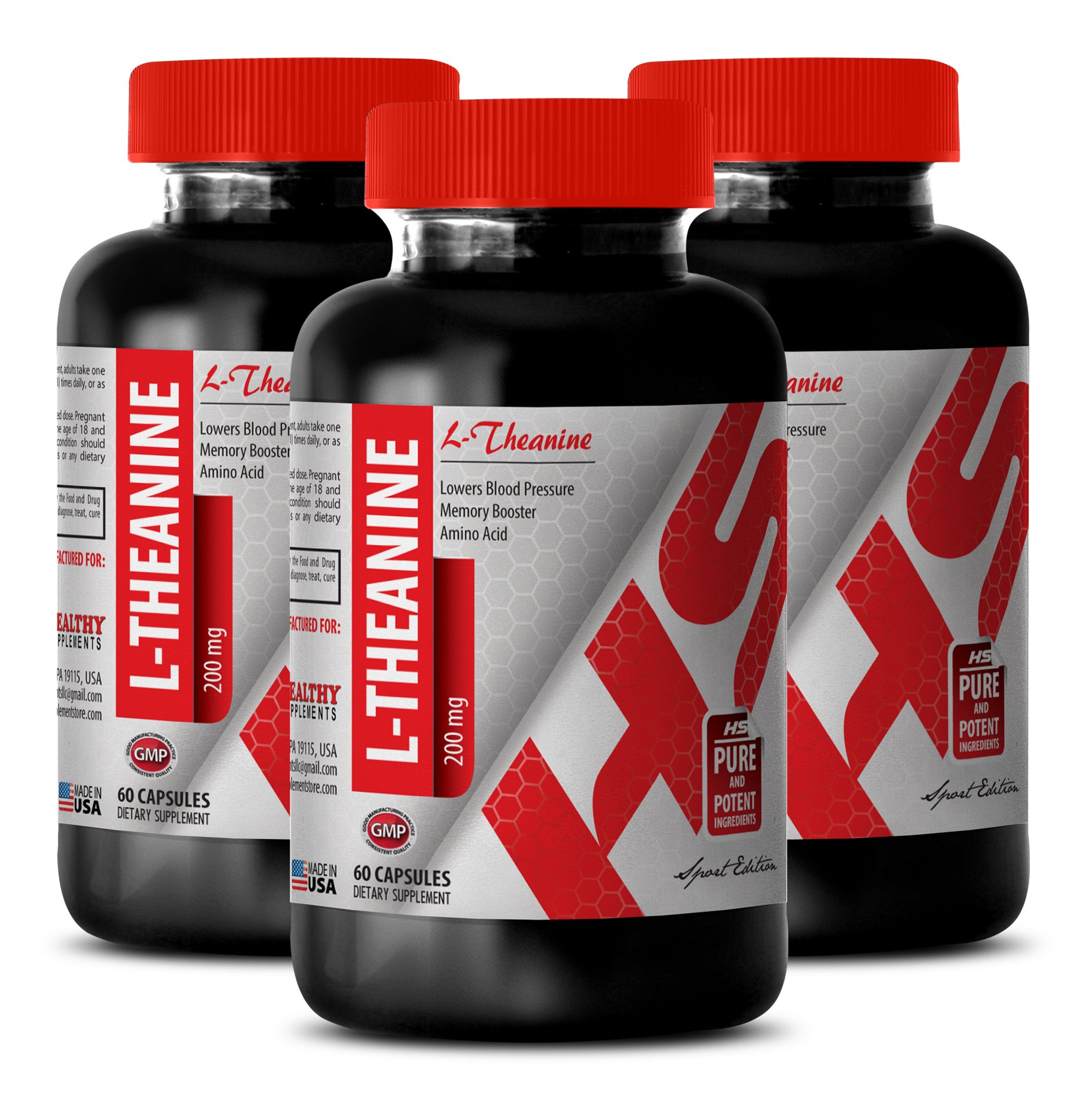 L-theanine supplement - NATURAL L-THEANINE 200MG - increase alertness (3 Bottles)