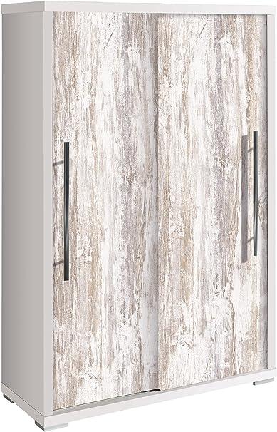 PEGANE Armario Zapatero con Puertas correderas Negra Blanco/Vintage – L80 x h121.5 X p35.5 cm (se envía montado): Amazon.es: Hogar