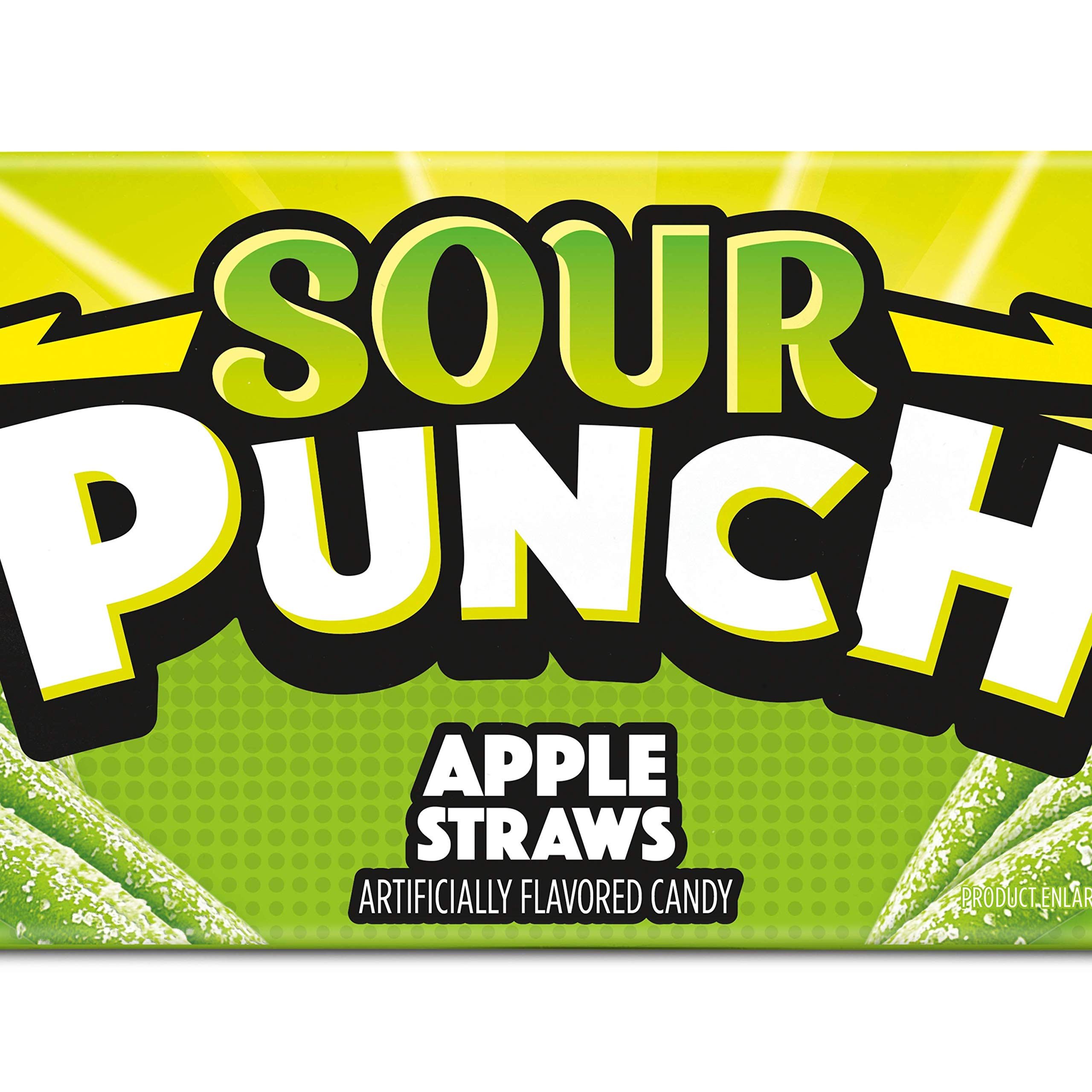 Sour Punch Straws, Sweet & Sour Apple Fruit Flavor, Chewy Candy, 4.5oz Tray (24 Pack)