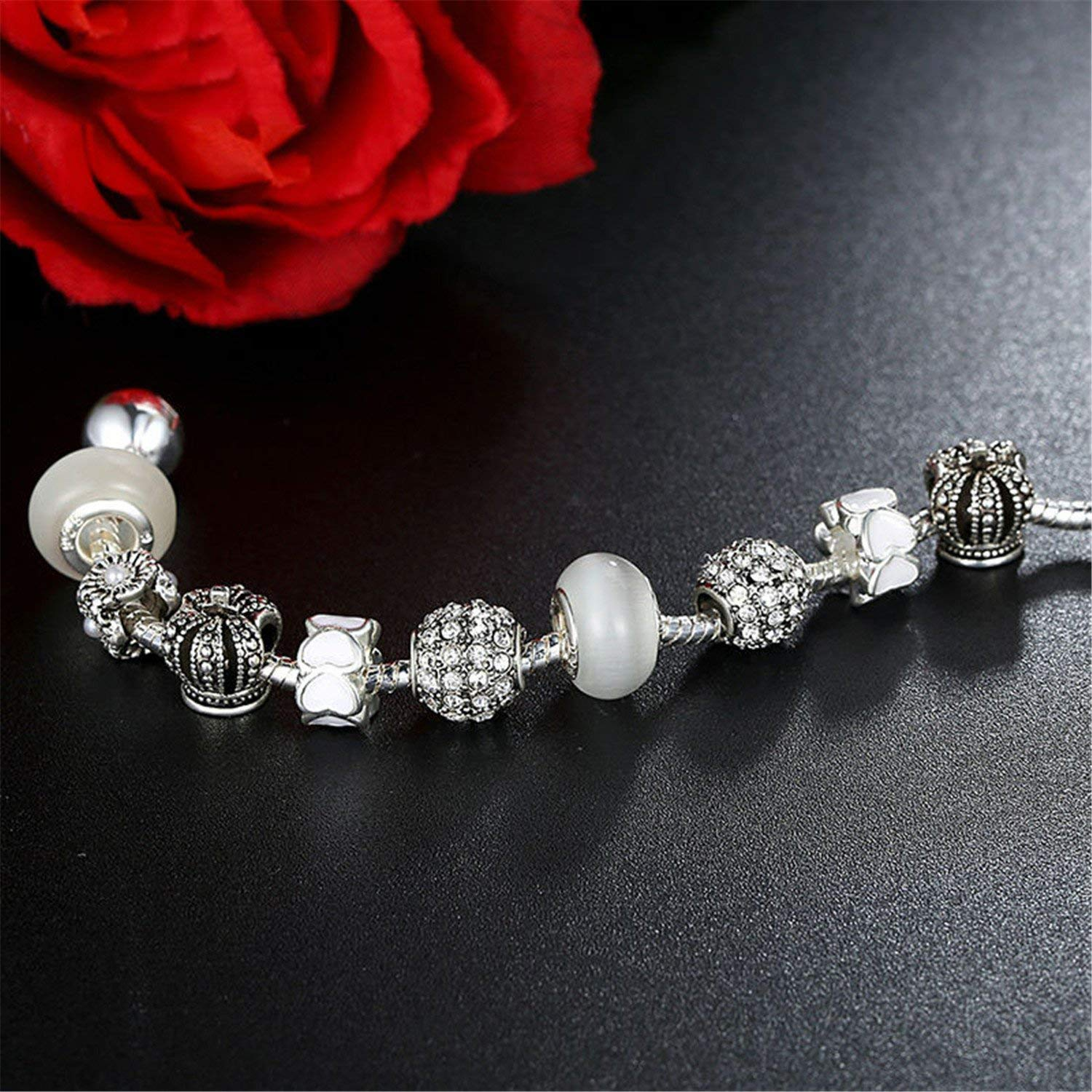 Cookisn Silver Charm Bracelet /& Bangle with Crystal Ball White Beads for Women Drop Shipping PA1456 PA1900 20cm
