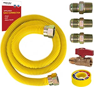 """PROCURU 72"""" x 1/2"""" OD Gas Flex Line Connector Kit with 1/2"""" Straight Valve for Dryer, Water Heater, Grill- Weatherproof Flexible Stainless Steel Pipe with Yellow SafeGuard Coating"""