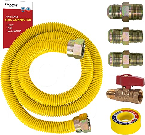 """Water Heater Dryer Gas Hook Up Kit w 48/"""" Stainless Steel Hose and Shut-Off Valve"""