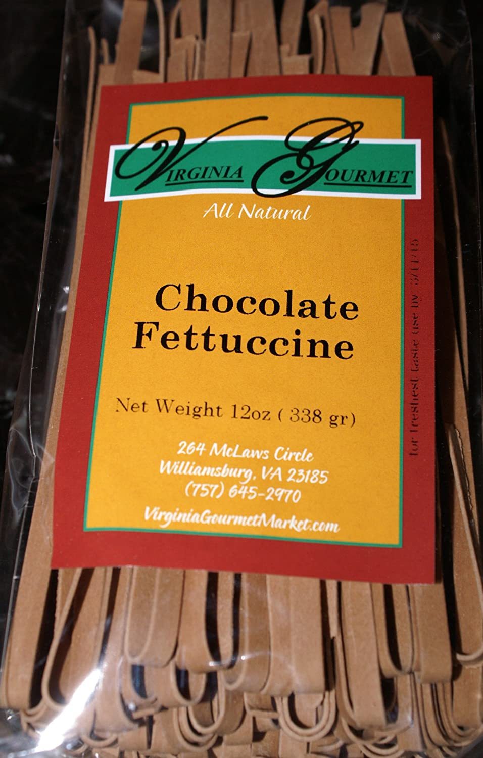 Virginia Gourmet Chocolate Fettuccine Pasta - All Natural Vegan (6 Pack - Each pack serves 4-6) Made with unbleached flour, cocoa, water