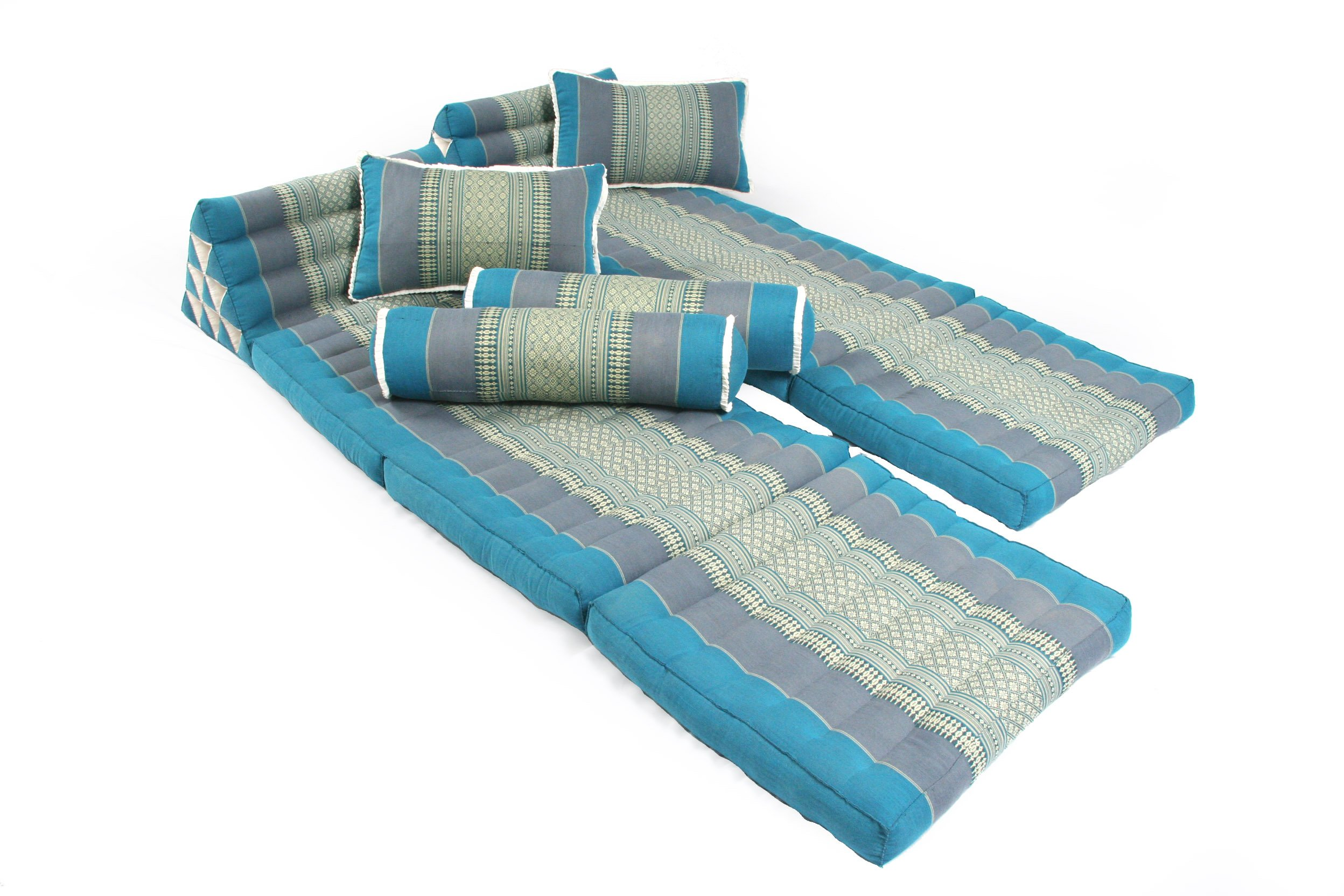 Sunshine Set (2x foldable Thai Mat + 2 Thaipillows + 2 Bolsters), Thai Fabric SkyBlues, 100% Kapok filling! by Handelsturm