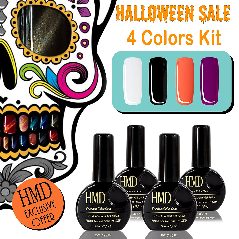 Canada HMD Soak Off UV LED gel nail polish 4 colors kit for Halloween