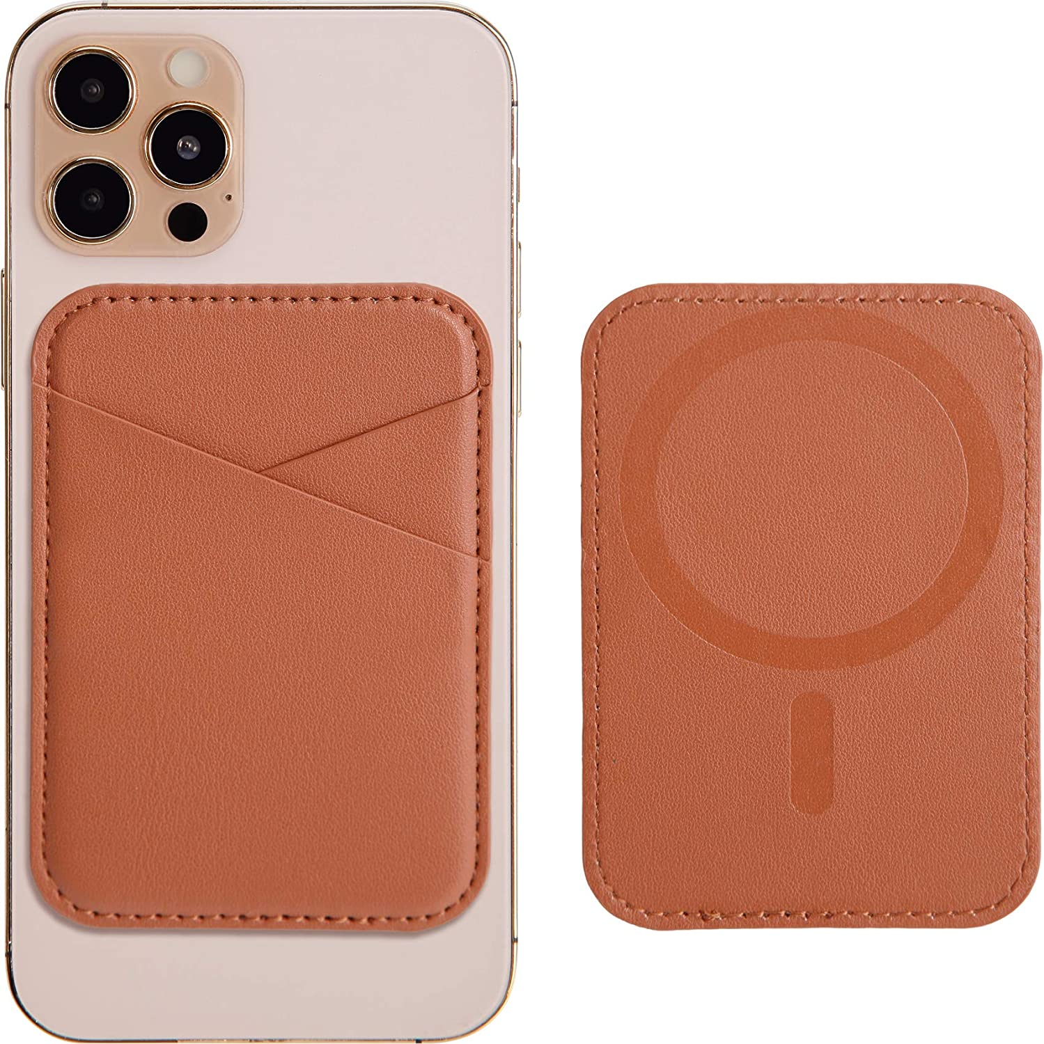 Magnetic Leather Wallet with MagSafe for iPhone 12/12 Mini/12 Pro/12 Pro Max, RFID Card Holder Wallet, Max 3 Cards, Brown