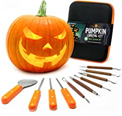 Joyousa 10 Piece Heavy Duty Stainless Steel Jack-O-Lantern Halloween Sculpting Set, Carving Tools Kit
