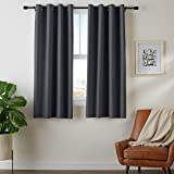 "AmazonBasics Room Darkening Blackout Window Curtains with Grommets - 42"" x 63"", Black, 2 Panels"