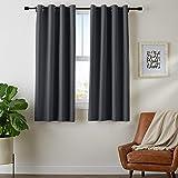 """AmazonBasics Juego de cortinas para bloqueo de luz y aislamiento térmico, con ojales y alzapaños, 106 x 160 cm (42 x 63""""), negro (2 paneles)"""