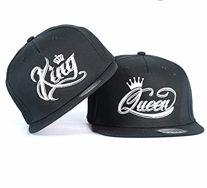 ecd8bc49cc7 King Queen Crown White Couple Snapback HAT Cap Embroidered Rapper CAPS Hats  (ONE Size)