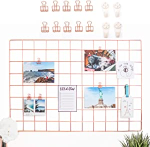 AllTheCuteThings Rose Gold Wire Wall Grid with 10 Rose Gold Metal Clips and 4 Hooks, Size 25.6